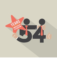 54th Years Anniversary Typography Design vector