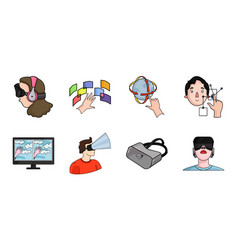 a virtual reality icons in set collection for vector image