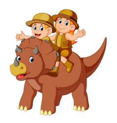 Adventurer riding the saurolopus vector