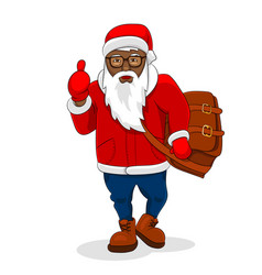 african black santa claus trendy clothes big bag vector image