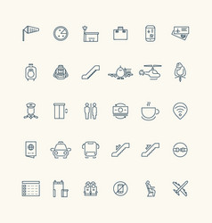 Airport and aviation line icon collection vector