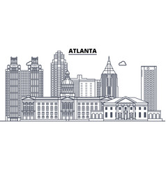 Atlanta united states outline travel skyline vector