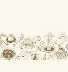 Background with sketch of mediterranean food vector