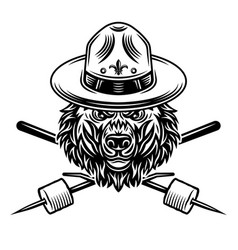 bear in scout hat and marshmallow on sticks vector image