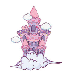 beautiful fairytale castle in the clouds vector image