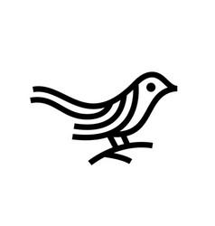 bird monoline outline logo icon vector image