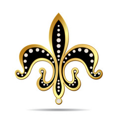 Black fleur-de-lis with a gold rim vector