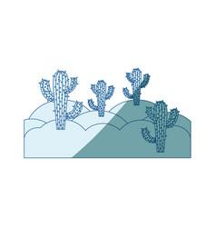 Blue shading silhouette of landscape of desert vector