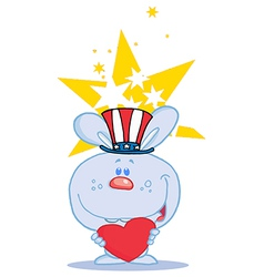 Blue USA Bunny Holding A Red Heart vector image