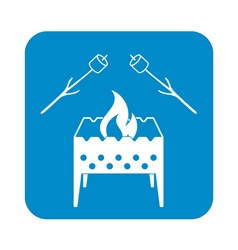 Brazier and marshmallow icon vector