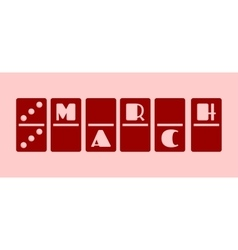 Calendar Date - March 6 Domino bones style vector
