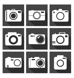 camera icon set on black background with long vector image