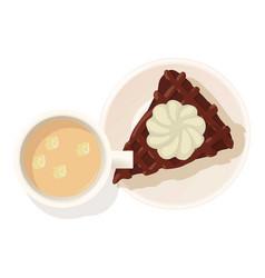 Chocolate cheesecake icon isometric style vector