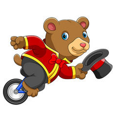 circus bear riding unicycle vector image