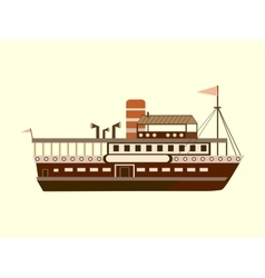 Color little retro steamer vector image