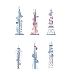 communication towers technological modern network vector image
