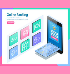 Concept mobile phone and credit card vector
