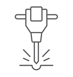 Construction jackhammer thin line icon vector