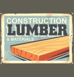 Construction lumber sign design in retro style vector