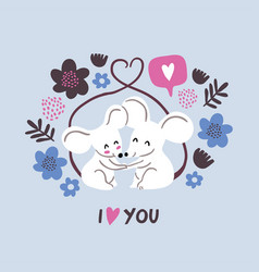 Cute mouses in love valentines day vector