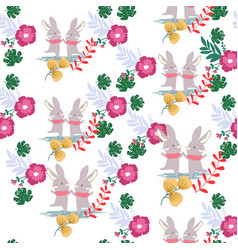 cute sweet pink and green flower and rabbit bunny vector image