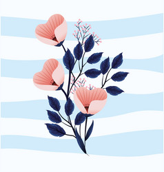 cute tropical flowers plants with leaves vector image
