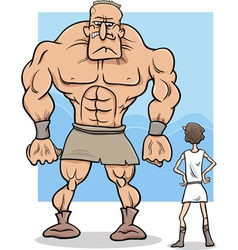 David and goliath cartoon vector