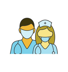 Doctor and nurse on white vector