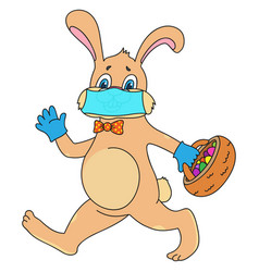 easter bunny in surgical mask and medical gloves vector image