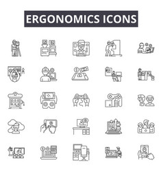 ergonomics icons line icons for web and mobile vector image