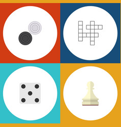 flat icon entertainment set of guess chequer vector image