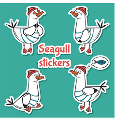Four bird seagull stickers isolated on blue vector
