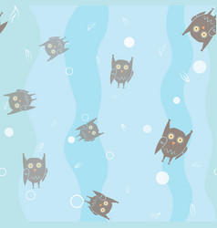 funny owls on colorful background seamless pattern vector image