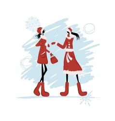 Girls in winter coat for your design vector image