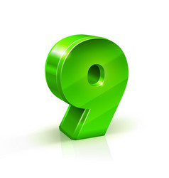 Glossy green nine 9 number 3d on vector