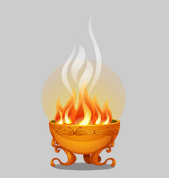 golden bowl fire isolated on a grey background vector image