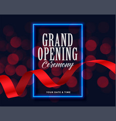 grand opening template with ribbon and bokeh vector image
