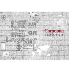 Grey hi-tech internet design on brick wall vector image