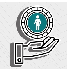 hand and silhouette person isolated icon design vector image