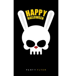 Happy Halloween Rabbit skull on black background vector image