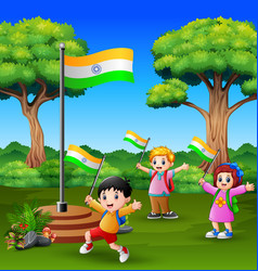 Happy kids celebrating of indian republic day on t vector
