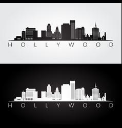 Hollywood california skyline and landmarks vector
