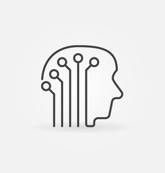 Human head with electronic circuit concept icon vector