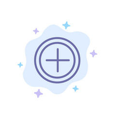 Interface plus user blue icon on abstract cloud vector