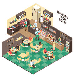 Isometric fastfood restaurant interior vector