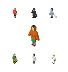 Isometric people set of seaman lady detective vector