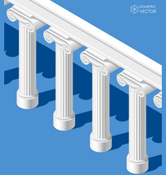 isometric white classic ancient colonnade on blue vector image vector image