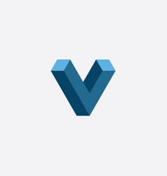 Letter v 3d optical logo icon vector