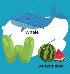 letter w from children alphabet graphics vector image