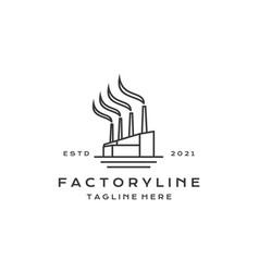 Line art factory building logo design modern vector